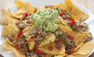 Vegetarian Haggis Nachos with Cheese
