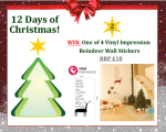 #UTCT12XmasDays WIN 1 of 4 Vinyl Impression Reindeer Wall Stickers competition