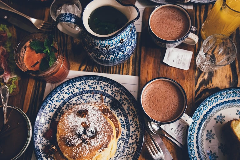 Pancakes with hot chocolate