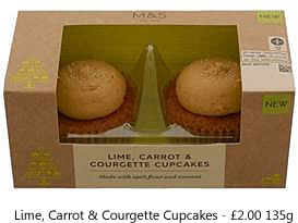 Lime, Carrot & Courgette Cupcakes £2.00 135g