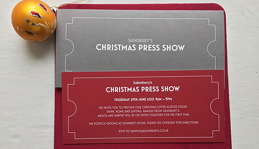 Sainsbury's, Argos and Habitat Christmas Press Show Invitation 2017