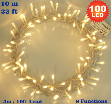 100 LED Warm White Indoor Christmas Tree Fairy Lights, Currently priced at £6.99