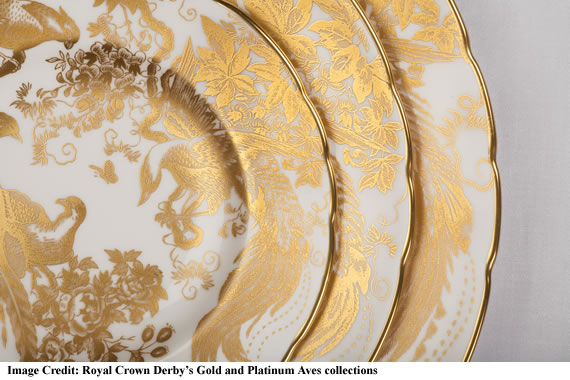 """Royal Crown Derby's Gold and Platinum Aves collections"