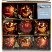 Set of Nine Copper Christmas Tree Baubles, Currently priced at £8.96