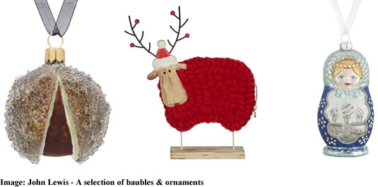 John Lewis 2017 Christmas bauble and ornaments