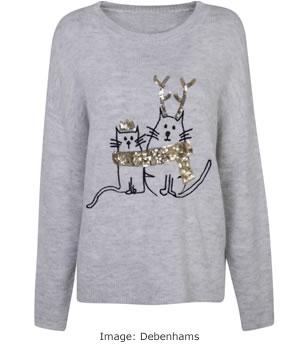 Christmas Jumpers 2017: Debenhams Grey Sequin Cat Jumper