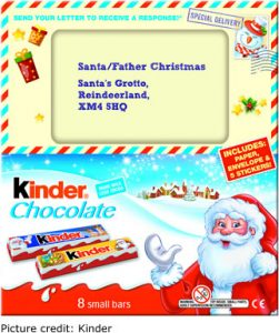Kinder Chocolate Santa Letter