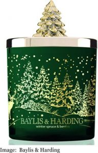 Baylis and Harding Winter Spruce and Berries Festive Scented candle Jar with Christmas Tree Lid
