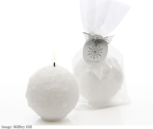 Millbry Hill Stoneglow Winter Wonderland Snowball Candle