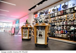Currys Oxford Street headphone and digital wall