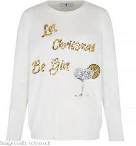 V by Very Let Christmas Be Gin Embellished Jumper