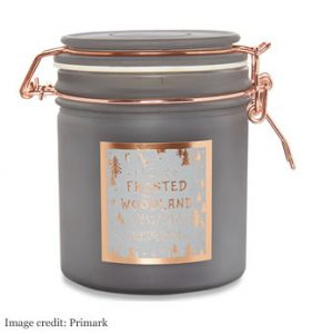 FROSTED WOODLAND LARGE CANDLE £5