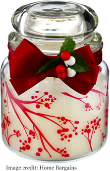 Home Bargains Winter Berries Dome Candle