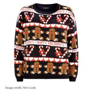 New Look Black Gingerbread Fairisle Knit Christmas Jumper