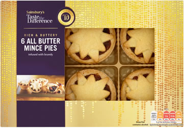 Sainsbury's All Butter Mince Pies, Taste the Difference x6 370g
