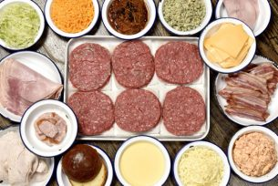 The six burgers, cheese and meats to be included