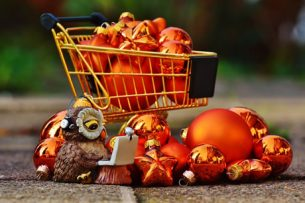 Shopping Trolley filled with copper baubles