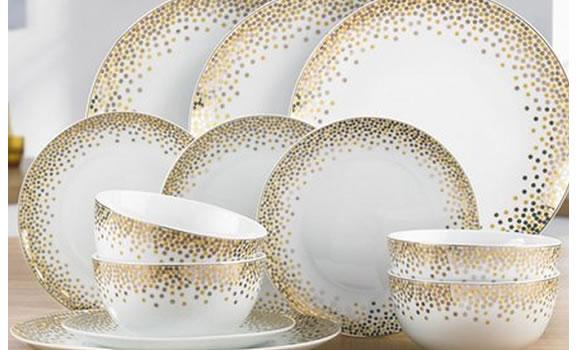 12-Piece Gold Spot Dinner Set by studio.co.uk
