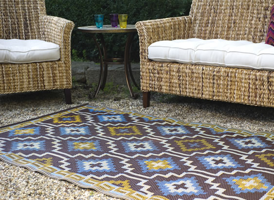 Fab Hab Lhasa Outdoor Rug in Blue & Brown, £49.95
