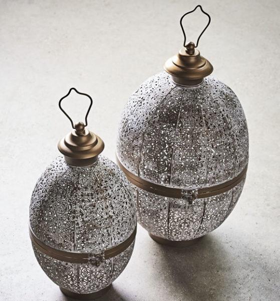 John Lewis Fusion Oval Iron Lantern, White/Brass