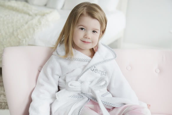My 1st Years Limited Edition Personalised Grey Gingham Trim Robe, £26
