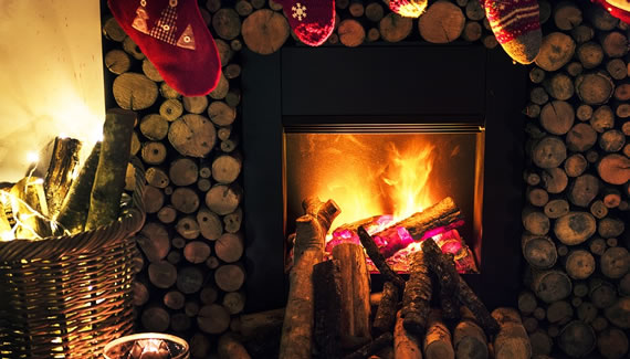 Decorated fireplace at Christmas