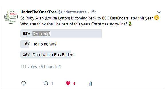 EastEnders Twitter Poll @underxmastree