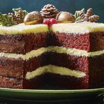 Marks & Spencer Christmas 2018 Hand Decorated Festive Acorn Red Velvet Cake