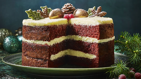 Marks & Spencer Christmas 2018 Hand Decorated Festive Acorn Red Velvet Cake