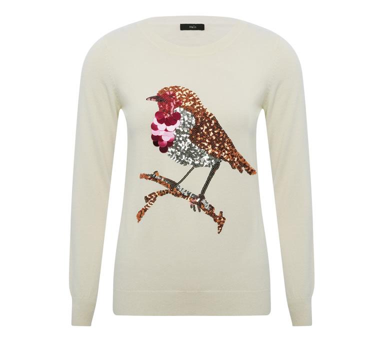 M&Co Sequin robin Christmas jumper