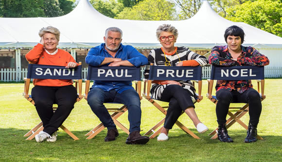 Image of the Great British Bake Off judges and hosts