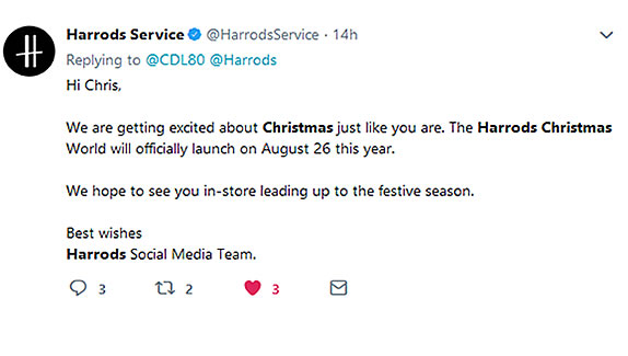 Harrods Tweet