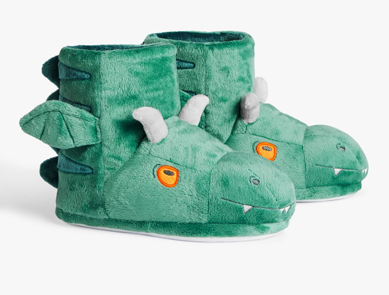 John Lewis Excitable Edgar Children's 3D Boot Slippers, Dark Green