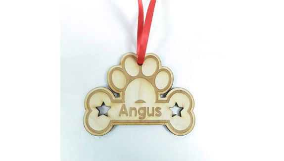 Personalised Christmas tree decorations dog tag