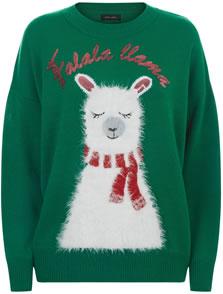 New Look Green Fluffy Llama Jumper