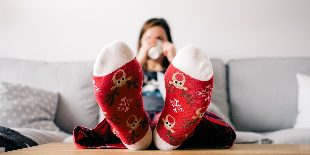 Image of feet up at Christmas