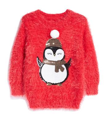 Primark Christmas Jumpers 2018 - Red Fluffy Penguin