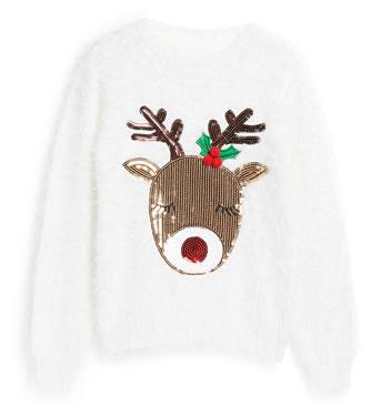 Primark Christmas Jumpers 2018 - Fluffy White Reindeer