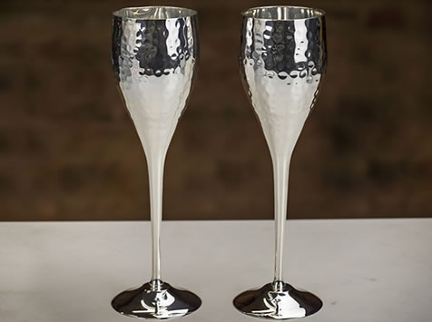Culinary Concepts 'Let's Get Hammered' Sliver Plated Champagne Flutes