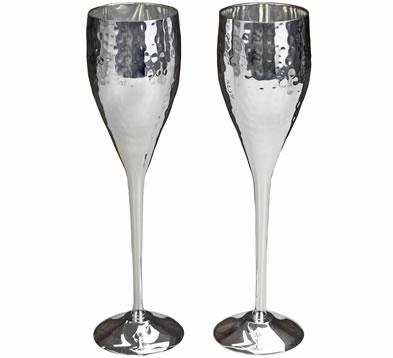Culinary Concepts Sliver Plated Champagne Flutes
