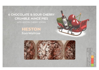 Heston from Waitrose Chocolate & Sour Cherry Crumble Mince Pie's