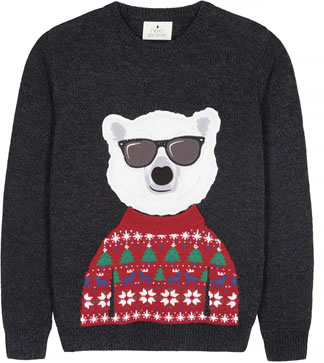 Mens Christmas jumper 2018: NEXT Polar bear Christmas jumper