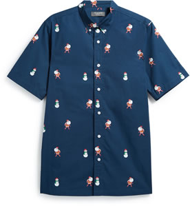 Christmas shirt: Primark Santa and Snowman Print Navy £7