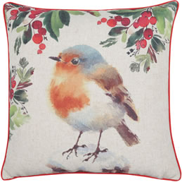 Robin Printed Christmas Cushion