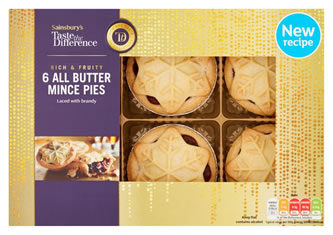 Sainsbury's Taste the Difference All butter Mince Pies score six out of tenSainsbury's Taste the Difference All butter Mince Pies