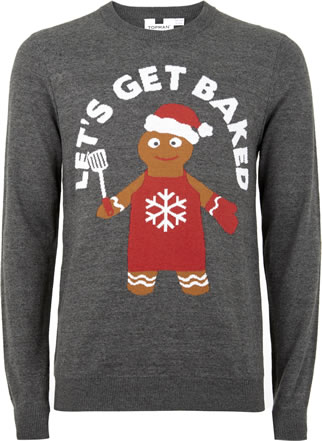 Mens Christmas jumpers 2018: Topman 'Let's get baked' £30