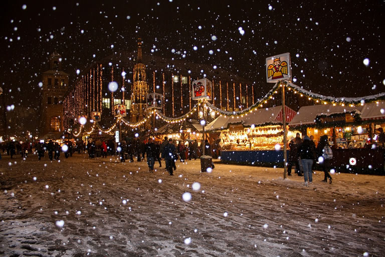 Image of Christmas towns and citys decorating