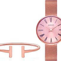 Adexe Sistine Rose Gold And White Watch And Rose Gold T Cuff Bracelet