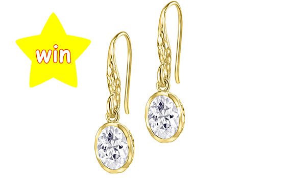 Dower & Hall 18ct Gold Vermeil Oval White Topaz Twinkle Drop Earrings