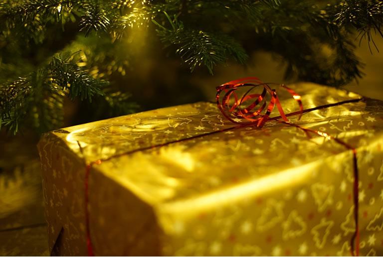 Gold Christmas present